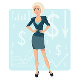 Femme blonde d'affaires, caractère de sourire sur le fond de diagramme Photographie stock