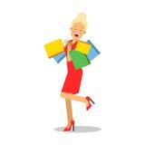 Femme blonde de sourire de jeunes dans la robe rouge se tenant avec avec l'illustration de vecteur de personnage de dessin animé  illustration de vecteur