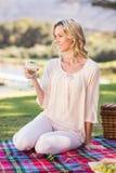 Femme blonde de sourire s'asseyant sur la couverture de pique-nique Photos libres de droits