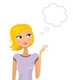 Femme blonde heureuse pensant sur quelque chose Photographie stock