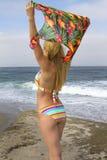 Femme blonde plaquée de jeune bikini vacationing à la plage photos stock