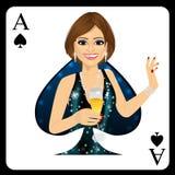 Femme blonde représentant la carte d'as de pique du jeu de poker Photographie stock