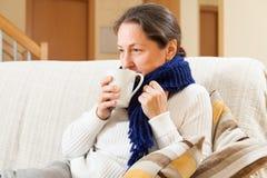 Femme buvant du thé chaud Photo libre de droits