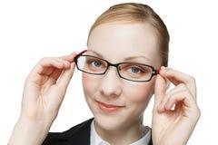 Femme caucasien pour porter des lunettes photos stock