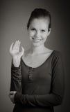 Femme caucasienne attirante dans ses 30 d'isolement sur a Images stock