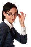 Femme caucasienne d'isolement d'affaires avec des lunettes Photographie stock libre de droits