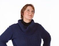 Femme caucasienne en bleu et rouge Photos stock