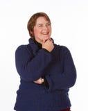 Femme caucasienne en bleu et rouge Images stock