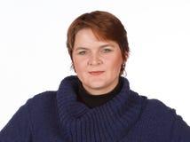 Femme caucasienne en bleu et rouge Image libre de droits