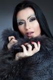 Femme caucasienne fascinante avec le maquillage et le manteau de bijoux Photos stock