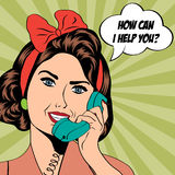Femme causant au téléphone, illustration d'art de bruit Images libres de droits