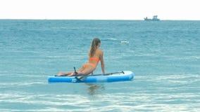 Femme chez le chien de Vers le haut-revêtement sur le panneau de palette dans l'océan clips vidéos