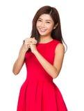 Femme chinoise vous bénissant chanceux image libre de droits