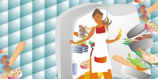 Femme choisissant la nourriture Images stock