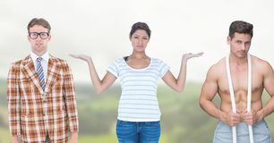 Femme choisissant ou décidant avec les mains ouvertes de paume Photos stock