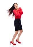 Femme choquée d'affaires en rouge Photos stock