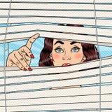 Femme choquée regardant par les abat-jour Illustration d'art de bruit rétro illustration de vecteur