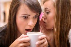 Femme chuchotant dans des ses oreilles d'amis Photographie stock libre de droits