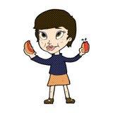 femme comique de bande dessinée mangeant des hot dogs Image libre de droits