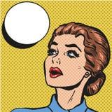 Femme comique de style d'art de bruit rétro illustration stock