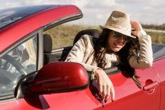 Femme conduisant la voiture Photos libres de droits