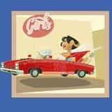 Femme conduisant un cabriolet rouge avec la bande dessinée de titre de voyage de fève Image stock