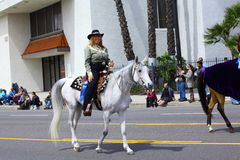 Femme conduisant un cheval Image stock