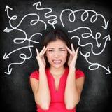 Femme confuse - confusion se sentante de personnes Photo libre de droits