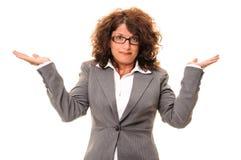 Femme confuse d'affaires Photographie stock libre de droits