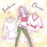 Femme considérée par illustration décorative de mode Photographie stock libre de droits
