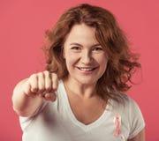 Femme contre le cancer du sein Photo libre de droits