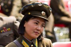 Femme coréen du nord d'armée dans Pyongyan Photos libres de droits