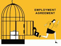 Femme courant de l'accord d'emploi illustration stock