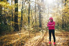 Femme courant sur un chemin forestier pendant le lever de soleil Images libres de droits