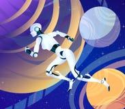 Femme courante de robot d'Android dans l'espace, art futuriste d'imagination de vecteur de l'avenir franchissement de l'espace, i Photo stock