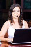 femme d'écouteur d'affaires Image stock