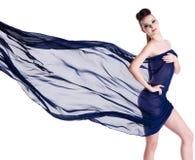 Femme d'élégance posant avec la mousseline de soie Photo libre de droits