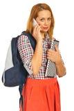 Femme d'étudiant parlant par le téléphone Photo stock