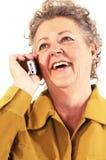 femme d'aîné de téléphone portable Photo libre de droits