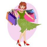 Femme d'achats illustration de vecteur
