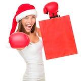 Femme d'achats de lendemain de Noël Images libres de droits
