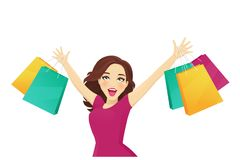 Femme d'achats recherchant Images stock
