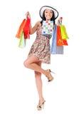 Femme d'achats sur le blanc photographie stock
