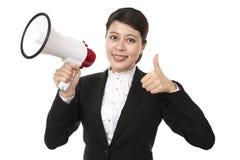 Femme d'affaires à l'aide d'un mégaphone Image libre de droits
