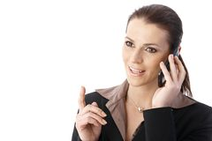 Femme d'affaires à l'appel téléphonique Photo stock