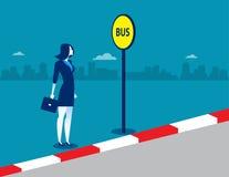 Femme d'affaires à l'arrêt d'autobus Illustration d'affaires de concept Images stock