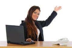 Femme d'affaires à une présentation image stock