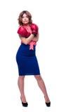 Femme d'affaires élégante dans des gants de boxe Photographie stock