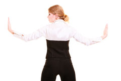 Femme d'affaires éloignant l'espace vide Photo stock