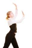 Femme d'affaires éloignant l'espace vide de copie Photos libres de droits